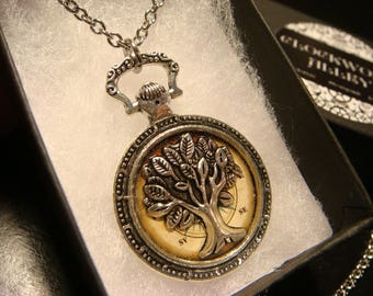 Tree of Life over Vintage Compass -Pocket Watch Style Pendant Necklace (2482)
