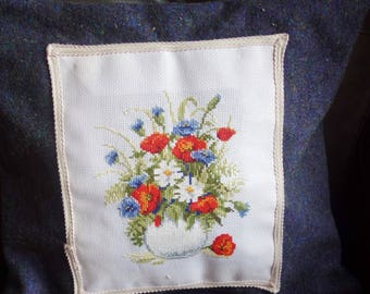 pretty vintage embroidered cushion cover on wool 16x15 inches