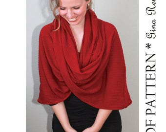 Infinity Scarf Pattern. Hooded Scarf pattern. Infinity Shawl patterns - PDF sewing patterns