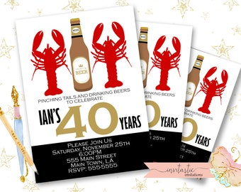Crawfish Boil Birthday Party Invitation - Crawfish Boil and Beer Milestone New Orleans Party Theme - Adult Crawfish Boil Party