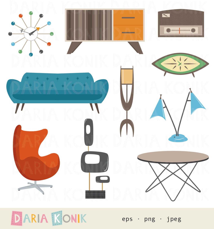 Furniture Clip Art: Retro Furniture Clipart Set-midcentury Modern Design Atomic