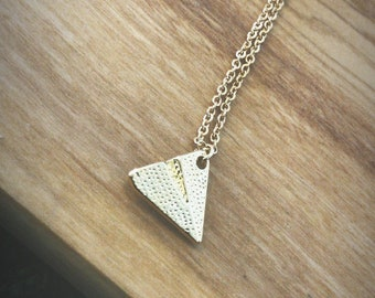 """18"""" Gold Plated Paper Airplane Minimalist Necklace"""