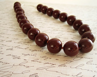 Chocolate Brown Beaded Necklace - Brown Clay Jewelry, Burnt Umber, Round Bead, 16 in., 20 in., READY TO SHIP