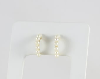 14k Yellow Gold Pearl Earrings Half Hoop Earrings