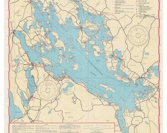 Lake Winnipesaukee 1966-67 Navigation Map - Islands, Coves Named!  Reprint