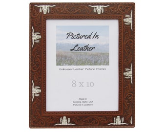 8x10 Western picture frame, 8x10 leather picture frame, longhorn Texas decor, western family photo frame, western decor, leather cowboy gift