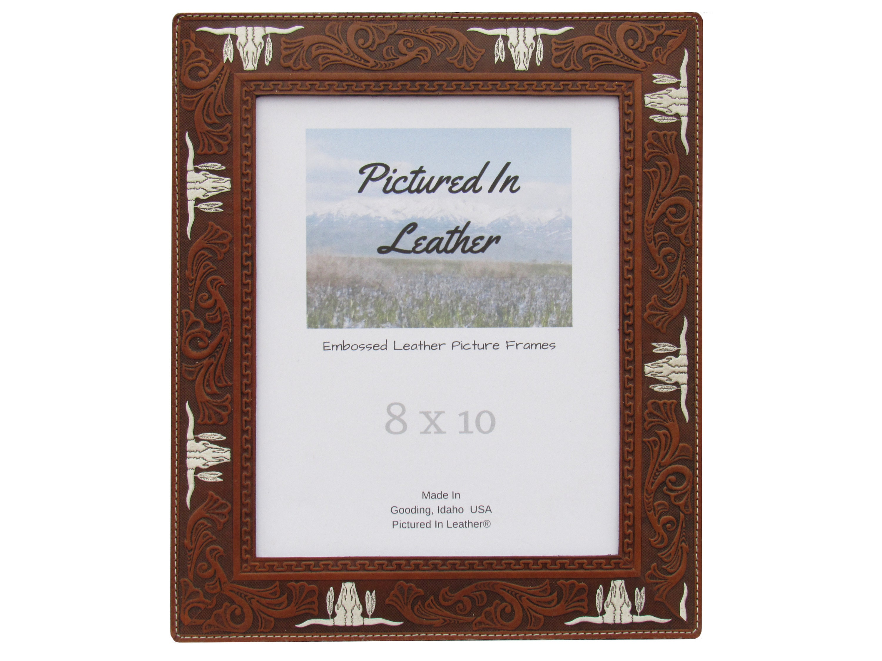 8x10 Leather picture frame, embossed with Texas longhorns that are ...