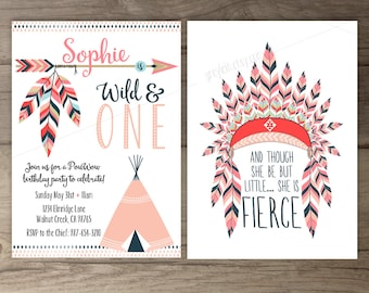 Pow wow Birthday Party Invitations • Wild and ONE • arrows feathers headdress tribal native teepee • pink navy • printable
