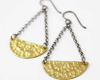 Brass Dangle Earrings, hand stamped earrings, tribal earrings, boho gift for mom, gold earrings, hypoallergenic earrings, sara westermark,