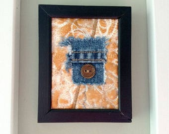 Mini Textile Art wallhanging, upcycled denim, painted quilt in black frame, mixed media art quilt, fiber art collage, for tiny places