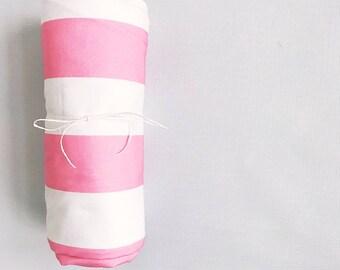 Couverture pour bébé Stripe cabane rose