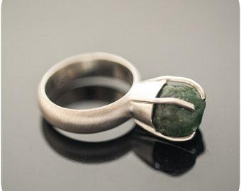 Raw Gemstone Ring - Hard Candy Tsavorite Sterling Silver Ring