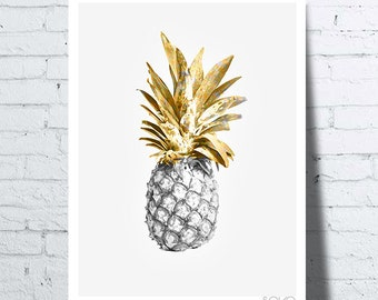Poster pineapple black / gold, wall art, photo, poster, tropical fruit, pineapple