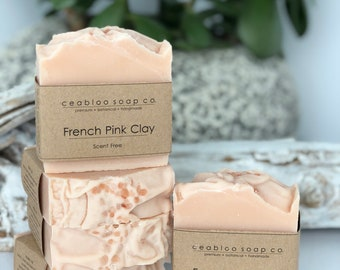Natural soap, french Pink Clay, Scent free, Sensitive skin, Handmade soap, Cold process Soap, For skin with allergies