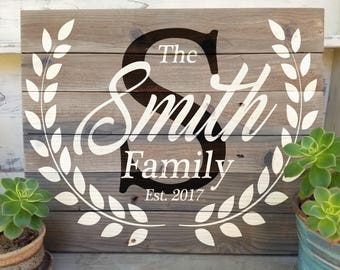 Custom Family Sign, Personalized Family Sig, Family Established Sign, Wedding Decor, Newlywed Gift, Custom Name Sign, Last Name Sign