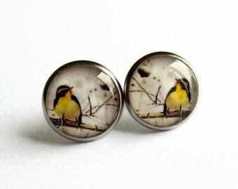 Yellow Bird Earrings, Bird Stud Earrings, Birthday Gift for Her, Gift for Nature Lover, Hypoallergenic Surgical Steel, 14mm