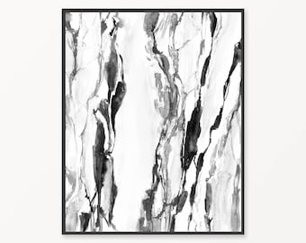 Black and white abstract print, printable marble painting, black and white marble painting, abstract art, modern wall art, minimalist print