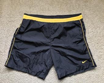 Men's Vintage 90s Nike Swim Trunks Black Yellow Size Large