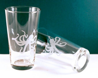 4 Octopus Etched Pint Glasses