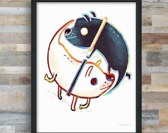Doggos yin yang art print