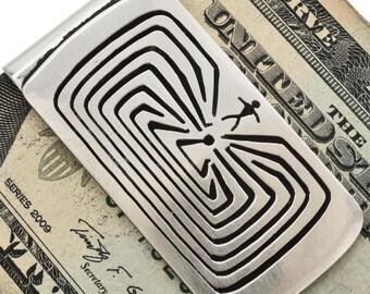 Man In The Maze Silver Money Clip Handmade Navajo Design