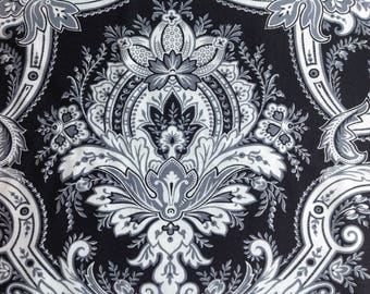 Bold Damask by AGI Fabrics/Quilting Sewing Craft Fabric/Black White Grey Large Scale Print/HALF YARD Pricing