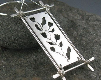 Sterling Silver Botanical Pendant Necklace, Handmade
