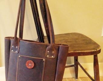 Leather tote bag, handmade distressed leather bag, leather tote bag, Kodiak leather tote, leather shoulder bag, handmade in  PEI