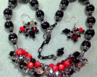 Black, Red and Silver Crystal Party Necklace and Earrings