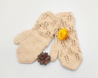 Kids beige gloves, knit lace gloves, beige wool mittens, gloves kids 5T-7T, kids knitted mittens, Christmas gloves