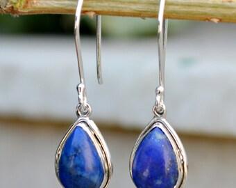 Lapis Lazuli Earrings - Sterling Silver Lapis Earrings - Blue Lapis Dangle Earrings - Blue Stone Earrings - Beautiful Earring Lapis Jewelry