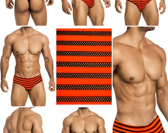 "Orange With Black ""Peek-A-Boo"" Mesh Stripes in 5 Styles - 411"