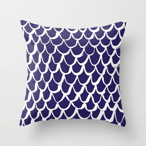 Indigo and White Mermaid Throw Pillow . Blue Pillow . Indigo Cushion . Mermaid Pillow . Indigo Pillow . Blue Cushion 14 16 18 20 inch