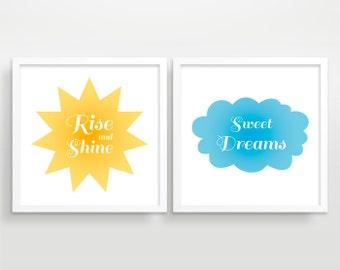 Rise and Shine, Sweet Dreams, Kids Wall Art, Nursery Decor - Print Set of 2