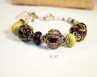Lampwork and Sterling Silver Bracelet Purple and Chartreuse Green Chunky Artisan Lampwork Bracelet OOAK Handmade Lampwork Bracelet