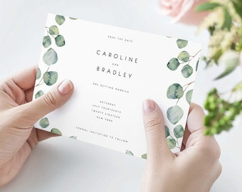 Diy save the date etsy greenery save the date template eucalyptus modern save the date printable save the junglespirit Images