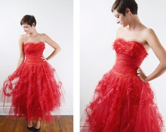 1950s Red Tulle Party Dress / 1950s Cupcake Dress - XS/S