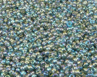 TOHO 11/0 Round Seed Beads - Transparent Rainbow Gray - 20 gram Bag - Grey Fog Mist Blue Green - Color Code 176B - Jar 60
