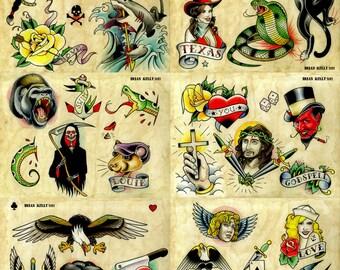 Tattoo Flash Set 9 by Brian Kelly. 6 sheets.