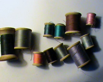 Vintage wooden spool lot with sewing thread crafts supplies or vintage decor