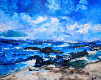 Oceanscape Sand Shore Original oil painting 16 x 20 inch on stretched canvas by BrandanC