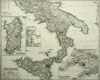 Old map of sardinia Etsy