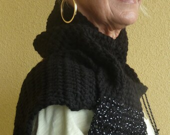Black and silver crochet winter scarf, basic and beautiful that will add class to your attire, women's winter accessory, gift for her