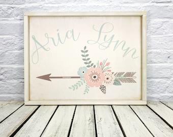 Baby Girl Nursery Name Sign, Wall Decor, Shabby Chic Nursery Decor, Flowers, Arrow,  Calligraphy Name Sign,  Girl Bedroom