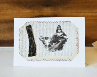 Crazy Cat Lady - Any Occasion Card - Small Mixed Media Art Print on Vintage book Upcycled wall art