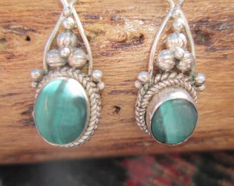 Malachite Green and Sterling  Earrings