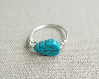 Silver Turquoise Ring- Midi Stack Ring- Stackable Turquoise Leaf Ring- Turquoise Silver Ring- Silver Ring- Gemstone Ring- Wire Leaf Jewelry
