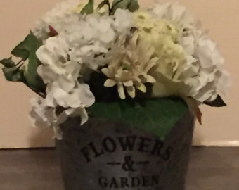 Galvanized Bucket with White and Green Flowers