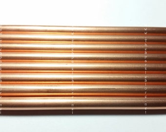 "Copper tubing, seamless, hard copper 12"" long 1/4"" diameter, USA copper"