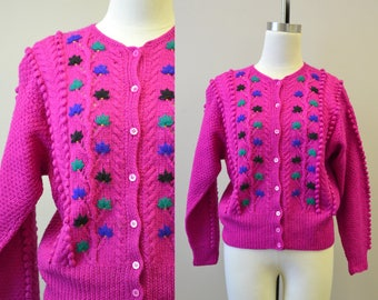 1970s The Villager Fuchsia Wool Cardigan